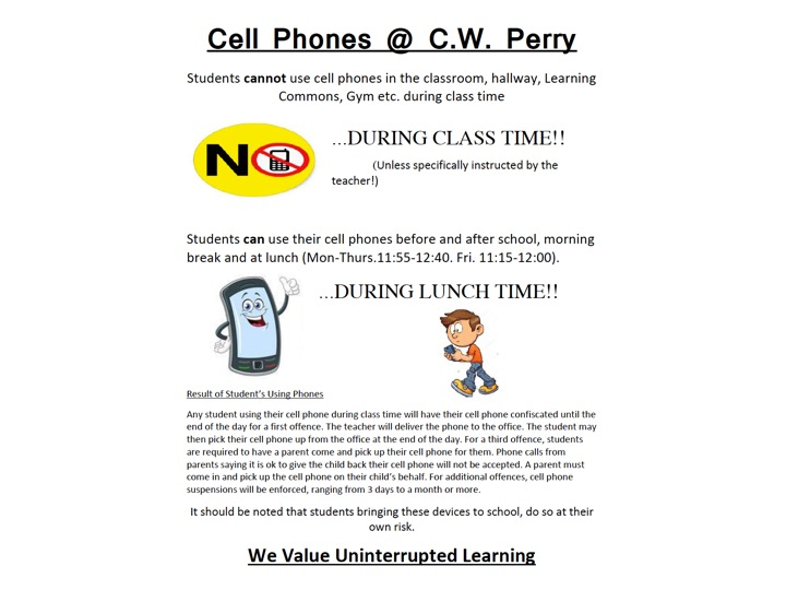 Cell Phones at CW Perry